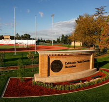 Schools name in front of track