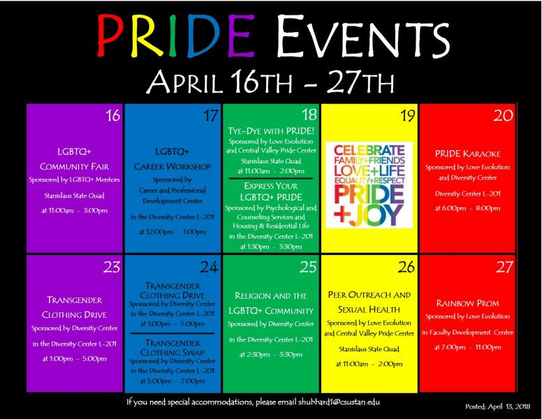 Pride events calendar