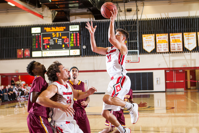 Warrior basketball team in action during a home game