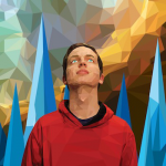 A youth looks up against a colorful abstract background