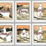 6 panel print series show cut out human and animal figures against a mountainous backdrop