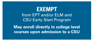 Exempt from EPT and/or ELM and CSU Early Start Program