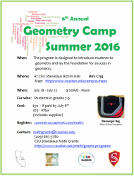 Geometry Summer camp flyer