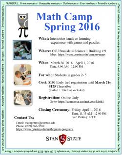 Math Camp Spring 2016 flyer