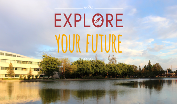 Explore your future with background of the Reflecting Pond
