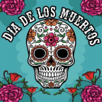 A decorative skull with pink and orange flower patterns surrounded with a blue background and roses. Title Dia de los muertos.
