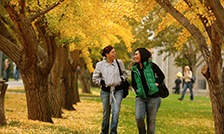 students on campus during autumn